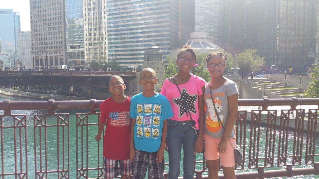Kids on Michigan Ave Bridge.