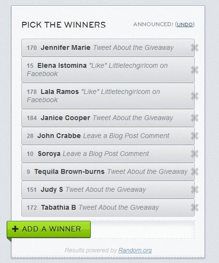 The Winners of the Nine $25 Best Buy Gift Cards are…
