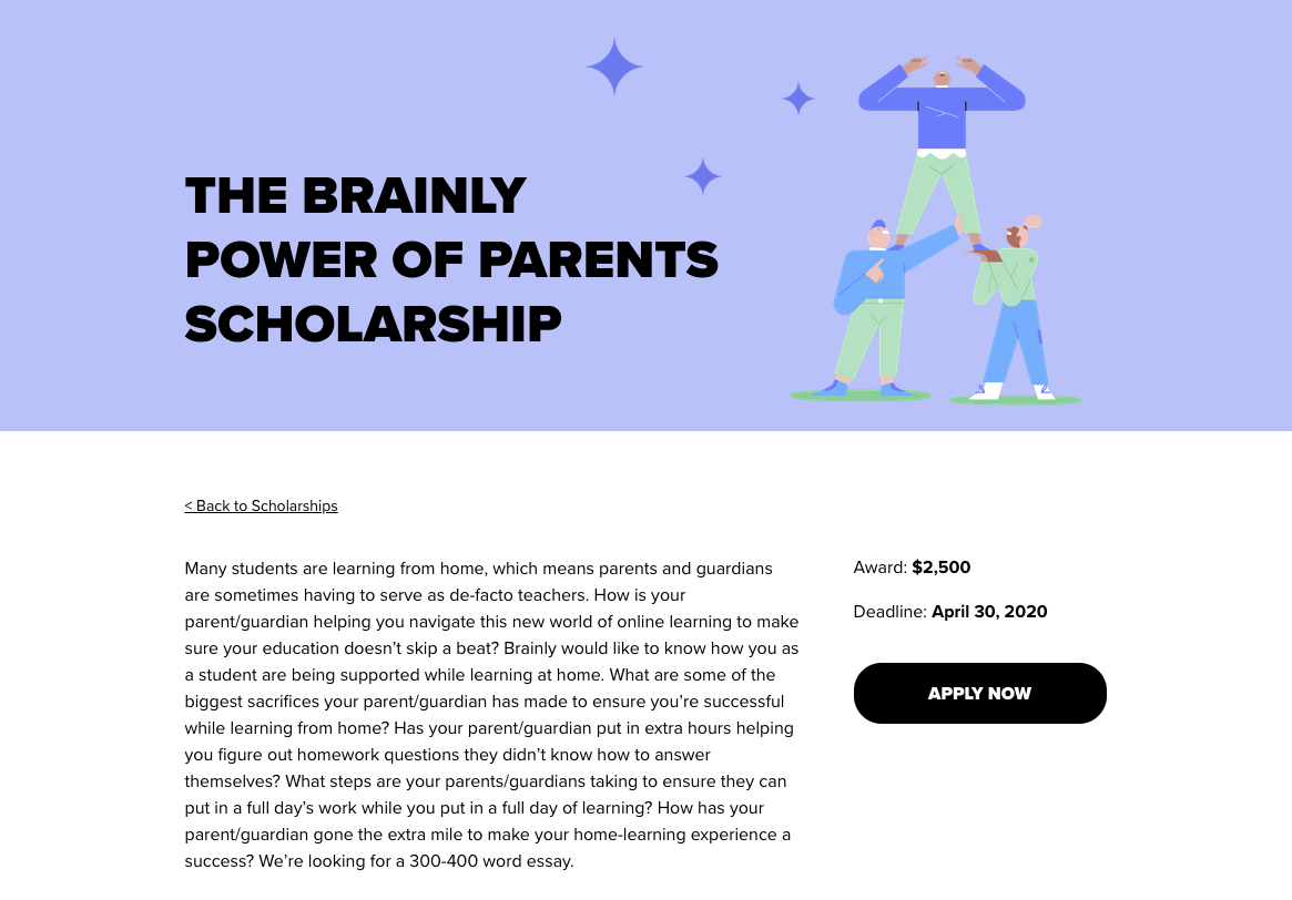 Brainly Power of Parents Scholarship