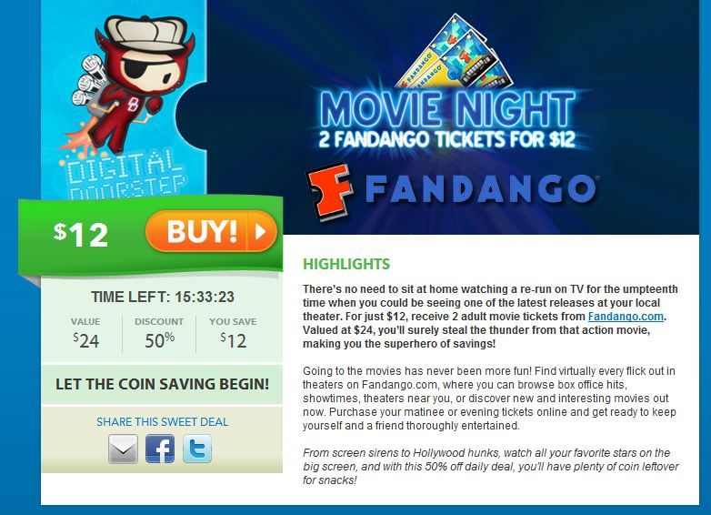 Saveology Deal: 2 Movie Tickets From Fandango for $12