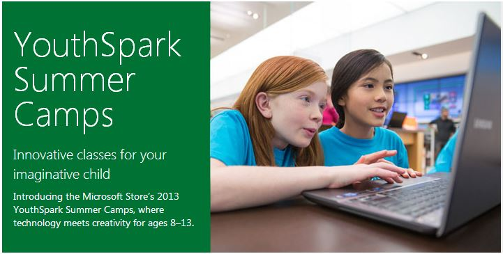 Microsoft Offering Free YouthSpark Technology Camps for Kids